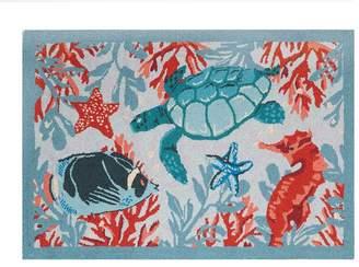 Vera Bradley Beach Novelty Hand-Hooked Wool Blue/Coral Area Rug