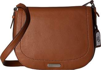 Lauren Ralph Lauren Lauren by Ralph Lauren Womens Glenmore Larisa Leather Messenger Handbag Brown Large