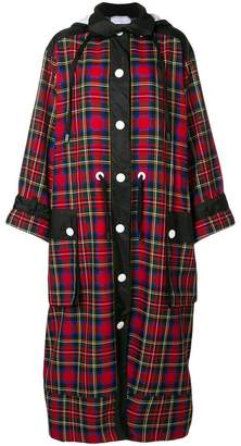 NO KA 'OI No Ka' Oi long hooded plaid coat