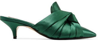 No.21 No. 21 Knotted Satin Mules - Emerald