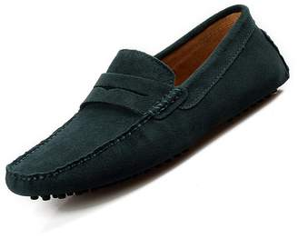 XiaoYouYu Men's Comfortable Suede Leather Penny Loafers Flat Shoes
