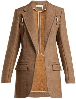 Chloé Long tweed harness blazer