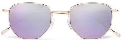 Illesteva - Hunter Hexagon-frame Gold-tone Mirrored Sunglasses - Lilac