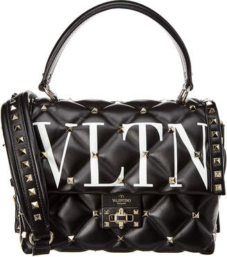 Valentino Vltn Candystud Leather Top Handle Satchel