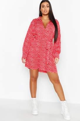 8159d106e4 boohoo Plus Heart Print Tie Waist Shirt Dress