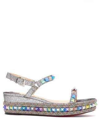 Christian Louboutin Pyraclou 60 Leather Flatform Sandals - Womens - Silver