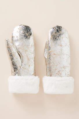 Anthropologie Metallic Faux Fur Mittens