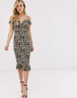 AX Paris leopard print cold shoulder midi dress