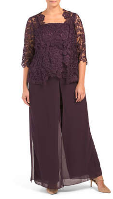 Plus Lace Sheer Drapery Pant Set