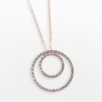 Diamond Fascination 14k Gold Double-Circle Pendant