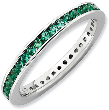Stackable ExpressionsTM Lab-Created Emerald Eternity Ring in Sterling Silver