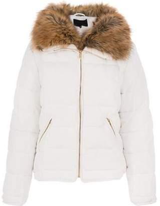 Dorothy Perkins Womens *Quiz White Padded Faux Fur Jacket