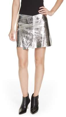 BA&SH Mania Metallic Leather Skirt