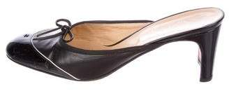 Chanel Patent Leather Round-Toe Mules
