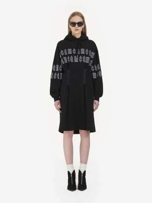 McQ Gothic Repeat Logo Corset Hoodie Dress
