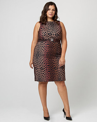 Le Château Leopard Print Gabardine Belted Sheath Dress