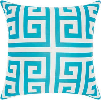 Nourison Mina Victory Greek Key Poly Turquoise Outdoor Throw Pillow