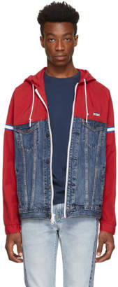 Levi's Levis Blue and Red Denim Bob Trucker Jacket
