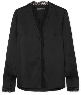Alexander McQueen Lace-trimmed Silk-satin Blouse - Black