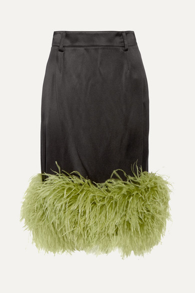 Prada - Feather-trimmed Satin Midi Skirt - Black
