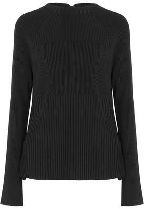 Jason Wu - Swiss-dot Lace-paneled Stretch-knit Sweater - Black $895 thestylecure.com