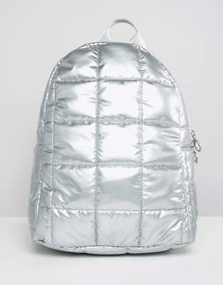 Asos DESIGN Quilted Metallic Backpack