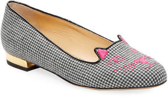 Charlotte Olympia Checkered Kitty Gingham Flat