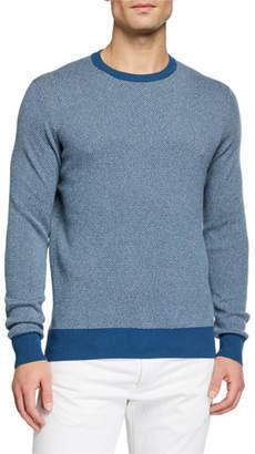 Loro Piana Men's Girocollo Birdseye Crewneck Baby Cashmere Sweater