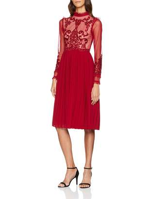 Frock and Frill Women's Embroidered high Neck midi Dress with Pleated Skirt Pleating Paisley Round Collar Long Sleeve Party Dress