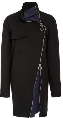 Cédric Charlier Exposed Zip-Detail Virgin Wool Mini Dress