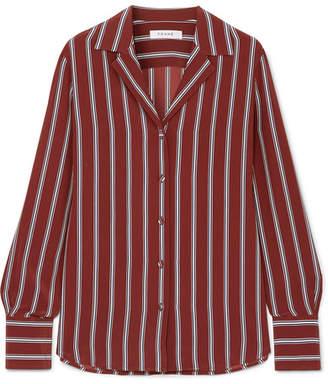 Frame Striped Silk Shirt - Red