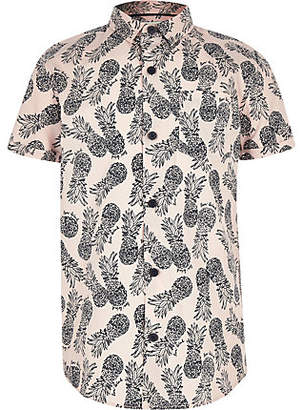 River Island Boys pink pineapple short sleeve shirt