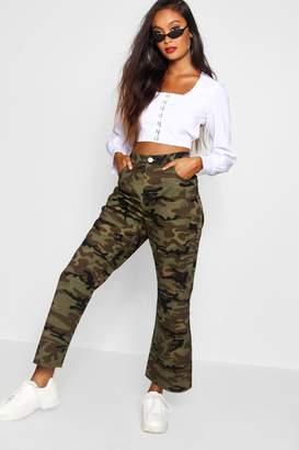 boohoo Camo Wide Leg Denim Jeans