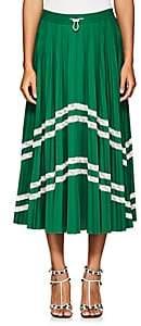 Valentino Women's Pleated Tech-Jersey Midi-Skirt - Green