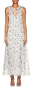 Calvin Klein WOMEN'S FLORAL SILK CHIFFON MAXI DRESS - BLUE