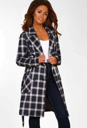 79f8c22062b Pink Boutique Hella Cute Grey Check Faux Suede Trench Coat