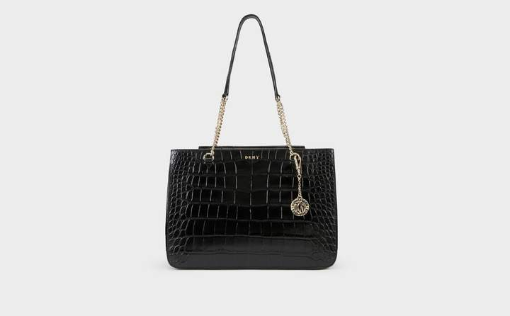 Croc Embossed Leather Shopper