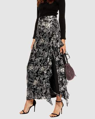 Topshop Feather Embellished Maxi Skirt
