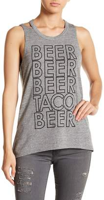 Chaser Beer & Tacos Cutout Back Tank Top