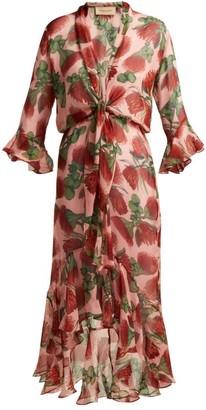 Adriana Degreas Fiore Protea Print Silk Ruffled Midi Dress - Womens - Pink Print