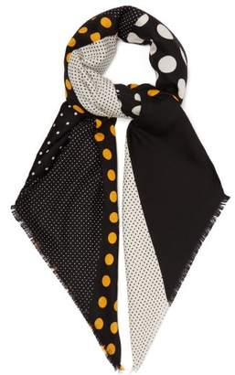 Loewe Polka Dot Wool Blend Scarf - Womens - Orange