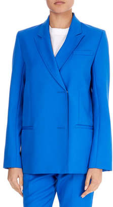 Victoria Beckham Victoria Peak-Lapel Asymmetric Hook-Closure Jacket