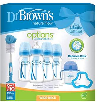 Dr Browns Dr Brown's Natural Flow Anti-Colic Vent Bottle, Beaker and Teether Set. Blue