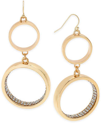Thalia Sodi Gold-Tone Pave Double Hoop Drop Earrings, Created for Macy's $26.50 thestylecure.com