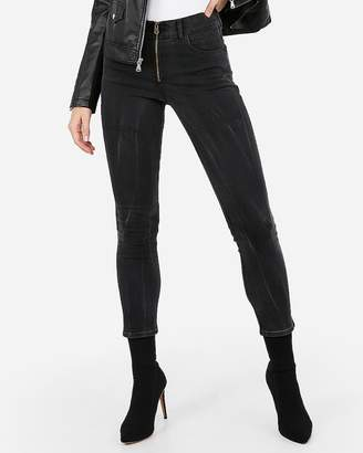 Express High Waisted Zip Front Super Skinny Stretch Jean