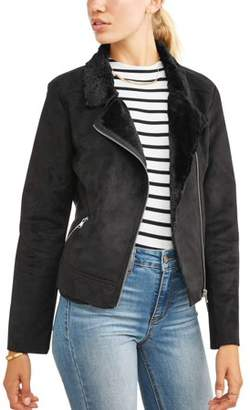 Paper Tee Juniors' Microsuede Moto Jacket with Faux Fur Trim