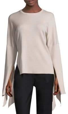 Tibi Tie Sleeve Wool Pullover