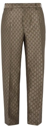Gucci Gg Pleated Cotton And Wool Blend Trousers - Mens - Beige