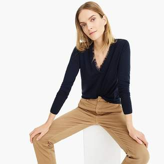 J.Crew V-neck sweater with tulle trim