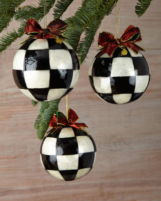 Mackenzie Childs Jester Fancy Large Christmas Ball Ornaments, Set of 3